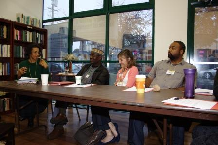 WISR Alumni panel, discussing their action-research: Vera Labat, Osahon Eigbike, Suzanne Quijano and Lydell Willis