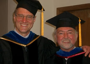 Bob Nichol (R) graduating with his PhD, shown with WISR faculty member, John Bilorusky (L)