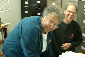 Philip Brooks (R) with WISR Faculty Member, Cynthia Lawrence (L)